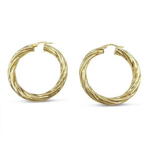 9ct Yellow Gold Twist Hoop Creole Earrings