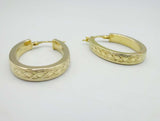 9ct Yellow Gold Oval Celtic Patterned Hoop Earrings