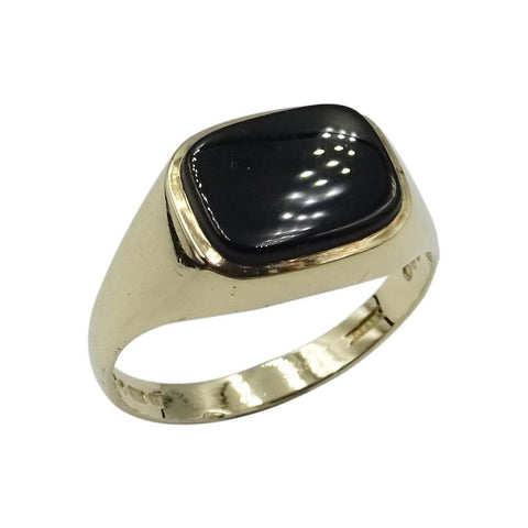 9ct Yellow Gold Mens Onyx Signet Ring