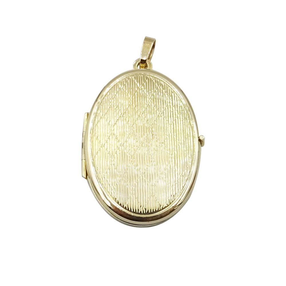 9ct Yellow Gold Oval Art Deco Patterned Locket