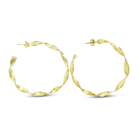 14ct Yellow Gold Twist Hoop Earrings