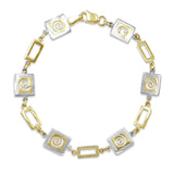 9ct Yellow Gold 2 Colour Geometric Swirl Bracelet