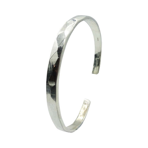 Ladies Sterling Silver 925 Open Back Hammered Torque Style Bangle