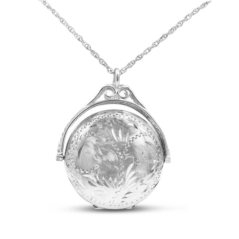 Sterling Silver Large Revolving Locket and Chain