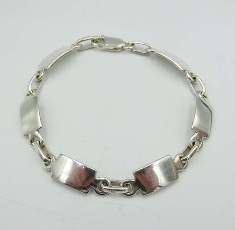 Sterling Silver Flat Rectangle Link Bracelet