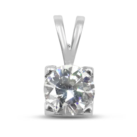 Sterling Silver Cubic Zirconia Square Set Pendant