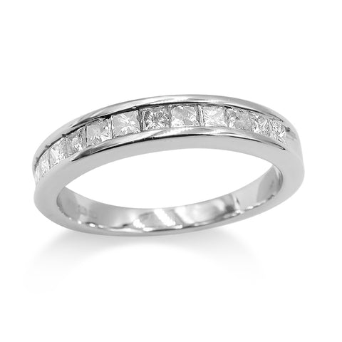 18ct White Gold Half Eternity Diamond Ring 0.50ct Size L 1/2