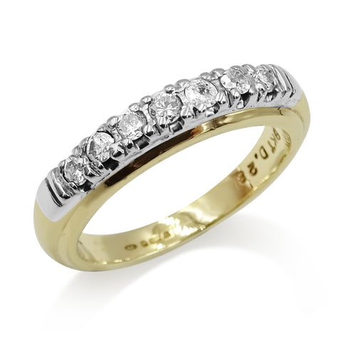 9ct Yellow Gold Half Eternity Diamond Ring 0.28ct Size M 1//2