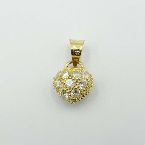18ct Yellow Gold Cubic Zirconia Heart Pendant