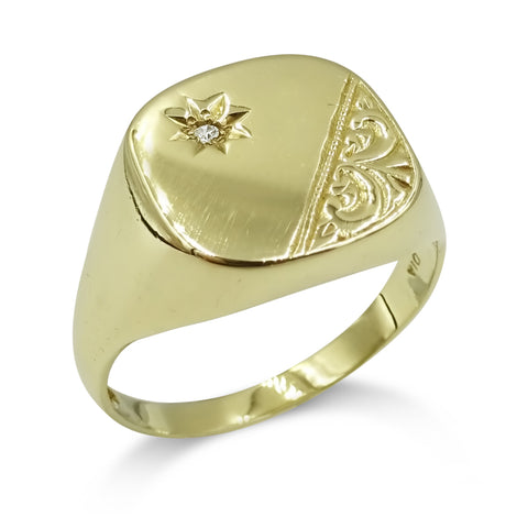 9ct Yellow Gold Mens Diamond Accent Signet Ring Size V 1/2