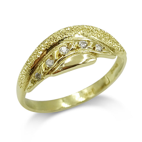 14ct Yellow Gold Textured Cubic Zirconia Ring Size P 1/2