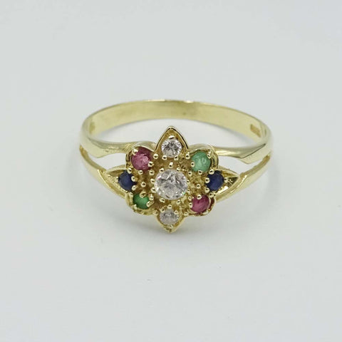 14ct Yellow Gold 3 Colour Cubic Zirconia Cluster Ring Size Q