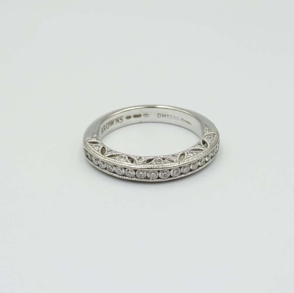 18ct White Gold Half Eternity Ring by Browns Size M