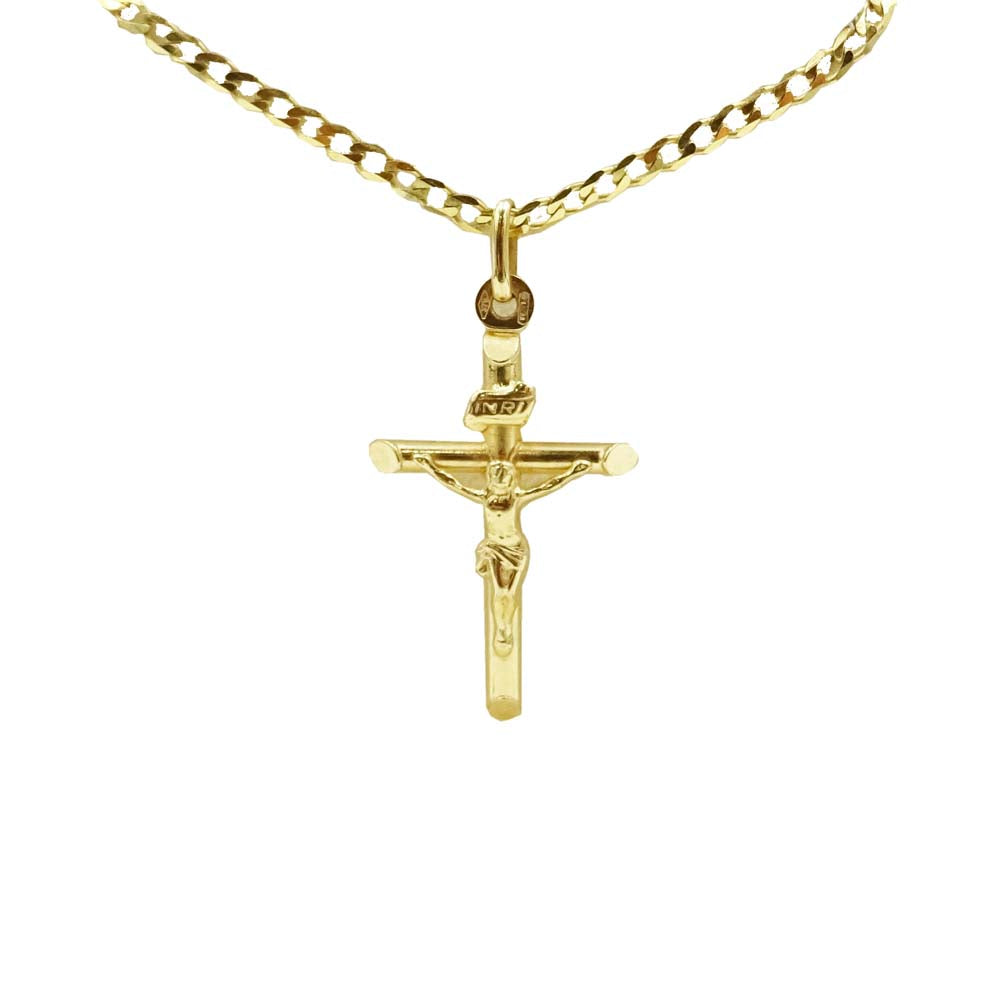 9ct Yellow Gold Crucifix & Curb Chain - Richard Miles Jewellers