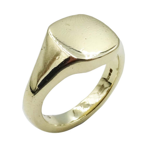 9ct Plain Yellow Gold Mens Solid Signet Ring - Richard Miles Jewellers