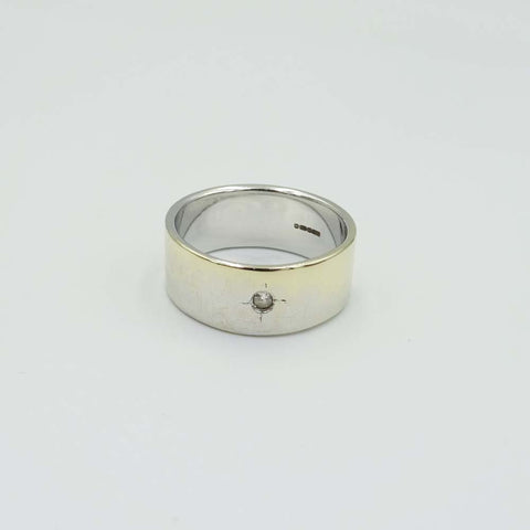 9ct White Gold Diamond Wide Band Ring Size Q 1/2