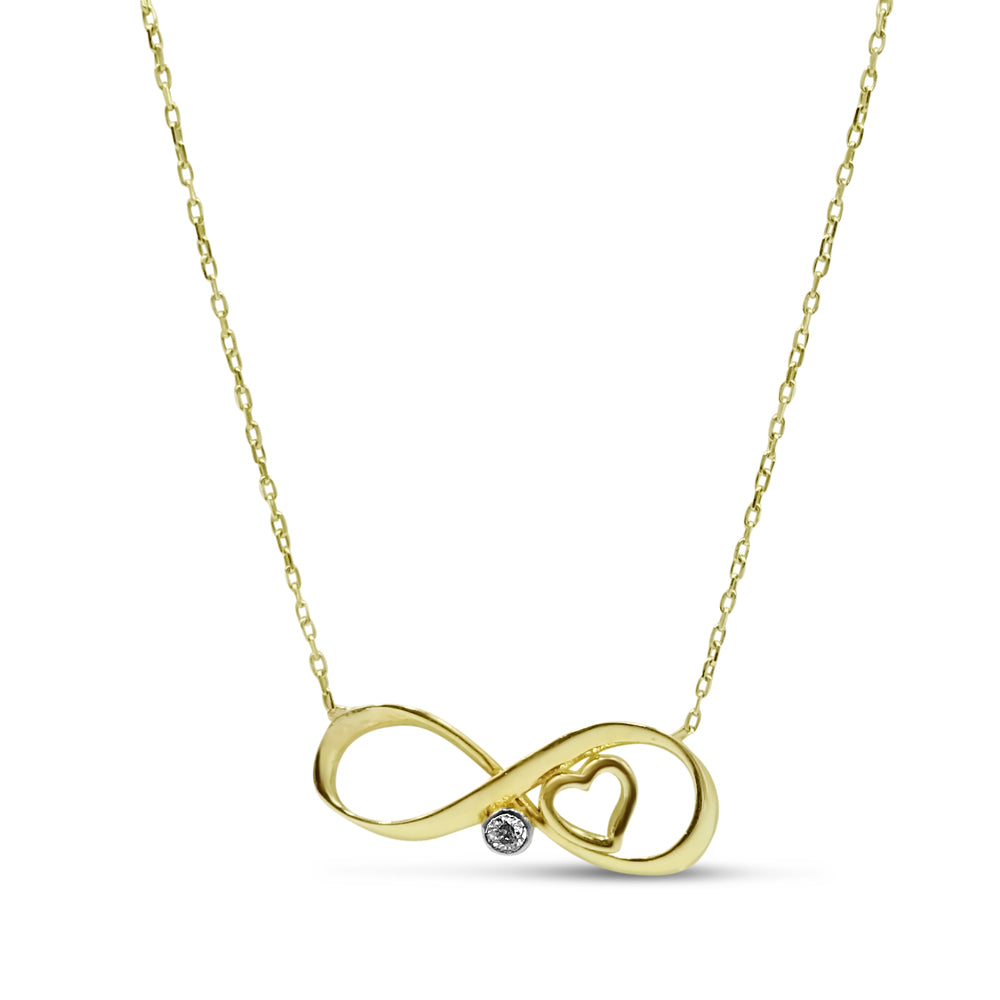 14ct Yellow Gold and Cubic Zirconia Infinity Necklace 18""