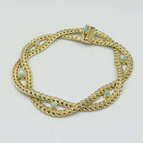 9ct Yellow Gold and Jade Woven Bracelet 7""
