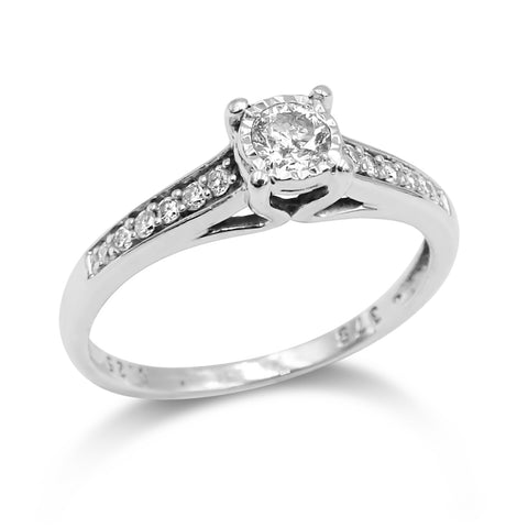 9ct White Gold Channel Set Solitaire Diamond Ring 0.25ct Size N