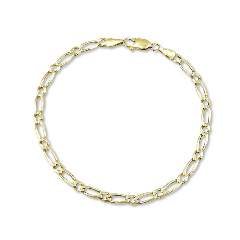9ct Yellow Gold Figaro Bracelet 8""