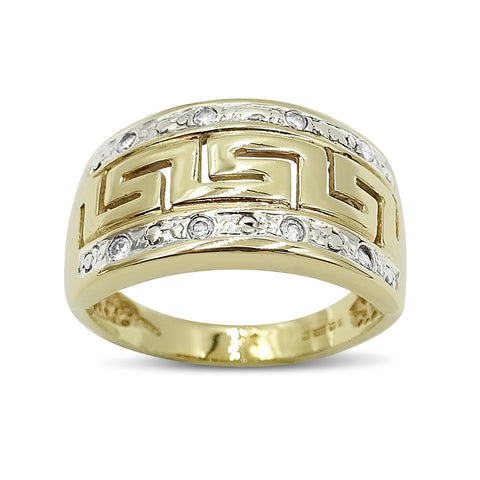 9ct Yellow Gold Greek Key Patterned Ring Size N 1/2