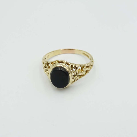 9ct Yellow Gold Oval Onyx Ring Size U 1/2