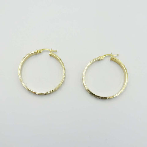 14ct Hammered Creole Hoop Earrings 31mm
