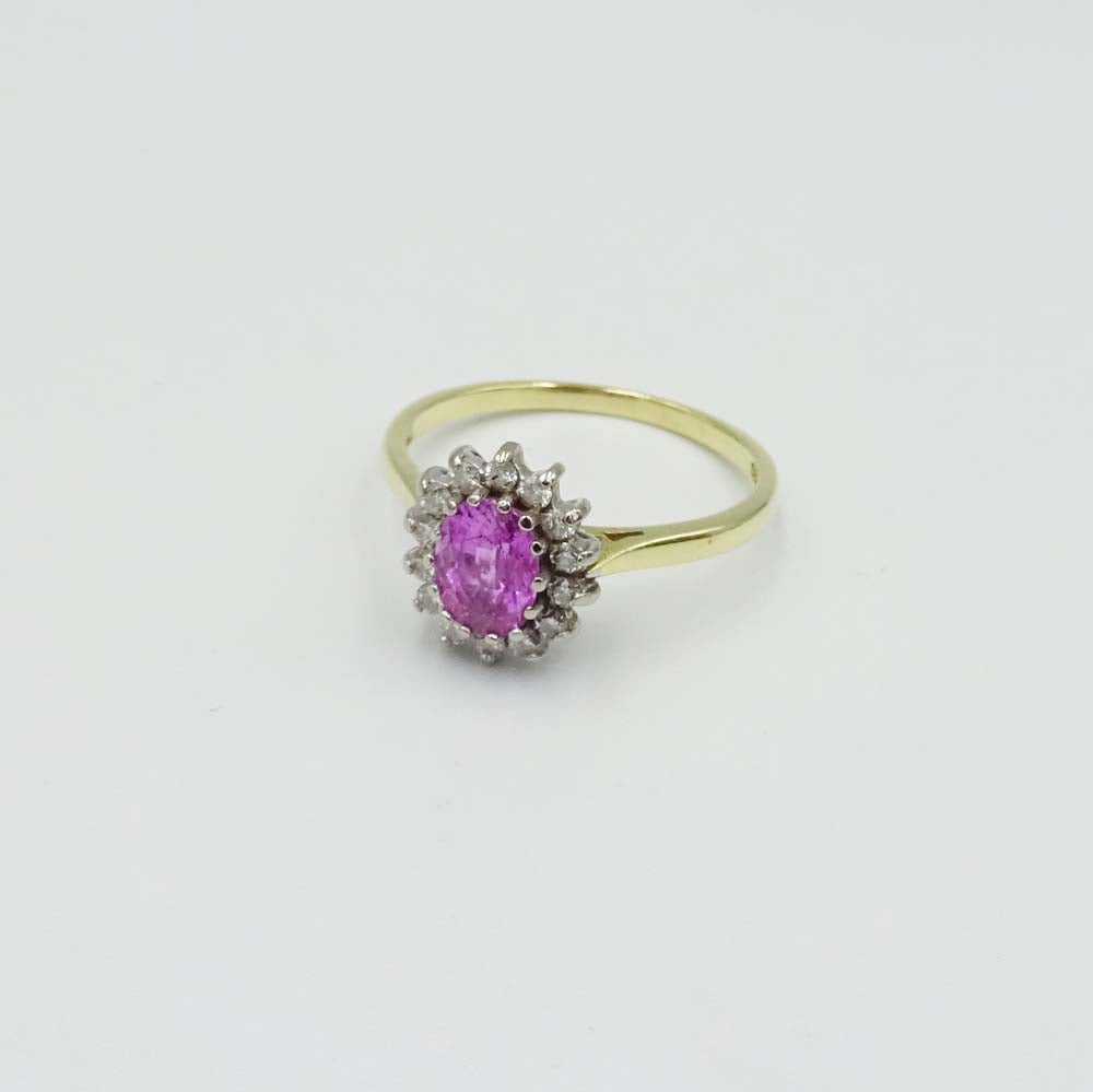 18ct Yellow Gold Pink Sapphire and Diamond Cluster Ring Size Q 1/2
