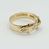 18ct Yellow Gold Buckle Diamond Ring Size O 1/2