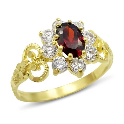 22ct Yellow Gold Cubic Zirconia and Garnet Cluster Ring Size N