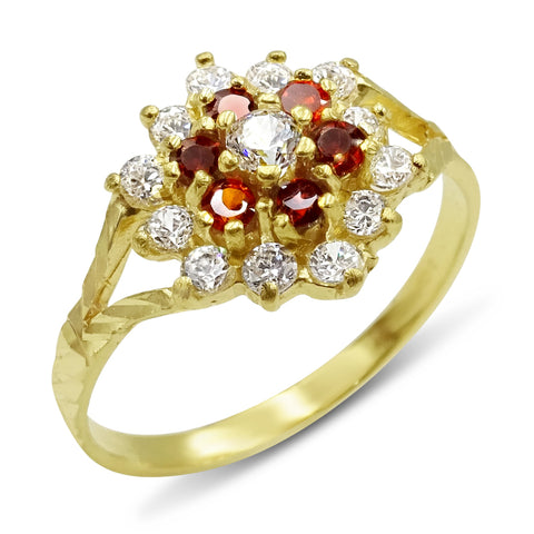 22ct Yellow Gold Cubic Zirconia and Garnet Cluster Ring Size L 1/2