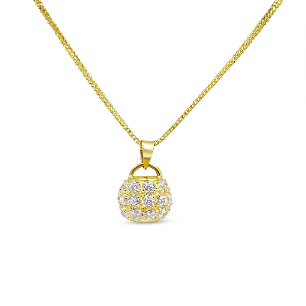 22ct Yellow Gold and Cubic Zirconia Ball Pendant with Chain