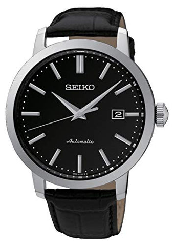 Seiko Stainless Steel Mens Automatic Black Leather Wristwatch SRPA27K1