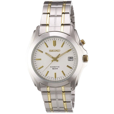 Seiko Gents Two Tone Stainless Steel 50m Kinetic Watch SKA269P1