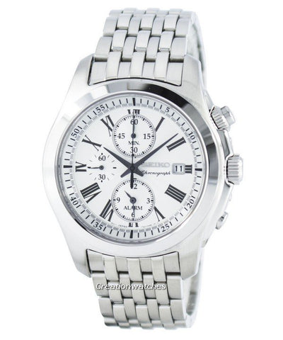 Seiko Quartz Gents Silver Alarm Chronograph Watch SNAE29P1 - Richard Miles Jewellers