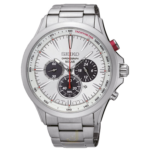 Seiko Gents Silver Sports Solar Chronograph Stainless Steel Watch SSC491P1 - Richard Miles Jewellers