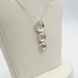 "Sterling Silver Ladies 3 Drop Hoop Pendant 18"" Chain - Richard Miles Jewellers"