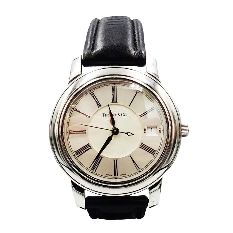 Tiffany & Co. Atlas Gents Stainless Steel Leather Band Watch - Richard Miles Jewellers