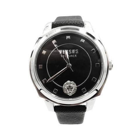 Versus Versace Stainless Steel Silver & Black Leather Strap Watch VSP510118 - Richard Miles Jewellers