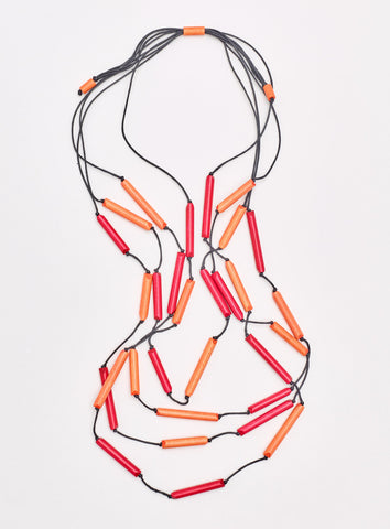 South Pacific Tubular Necklace Orange Mix