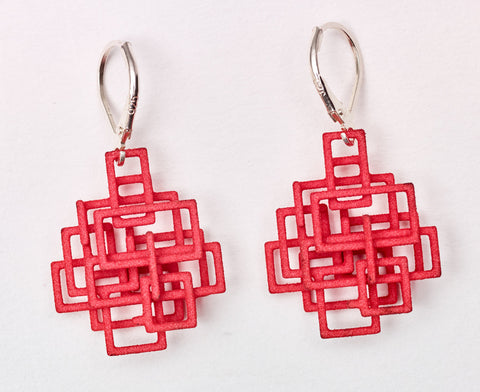 Red Square Dangle Earrings