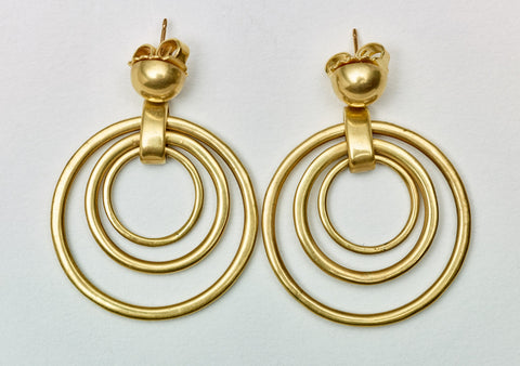 Vaubel Gold Three Ring Earrings