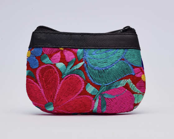 Leather Flower Coin Purse