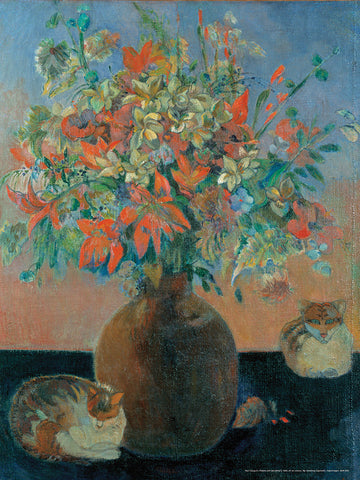 Gauguin's Flowers and Cats Poster