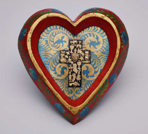 Hand Painted Heart with Cross