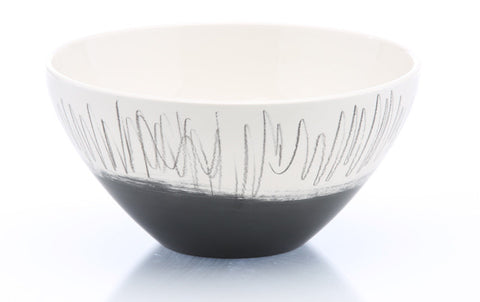 Tall Black Scribble Bowl