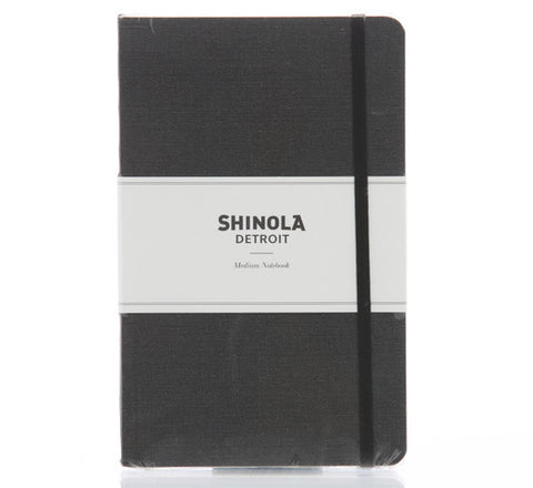 Shinola Medium Soft Linen Notebook Charcoal Gray