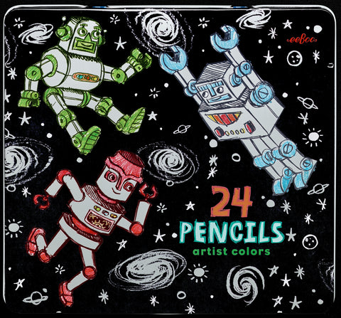 Silver Robots 24 Color Pencils