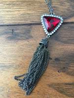 Triangle Pendant with Fringe Necklace