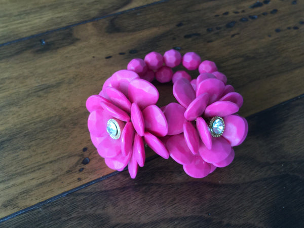 Large Faceted Flower Bracelet